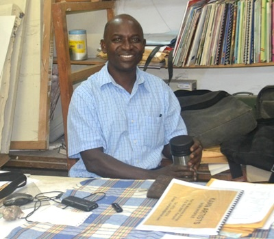 Prof. Kyeyune during the interview at his office, Makerere University