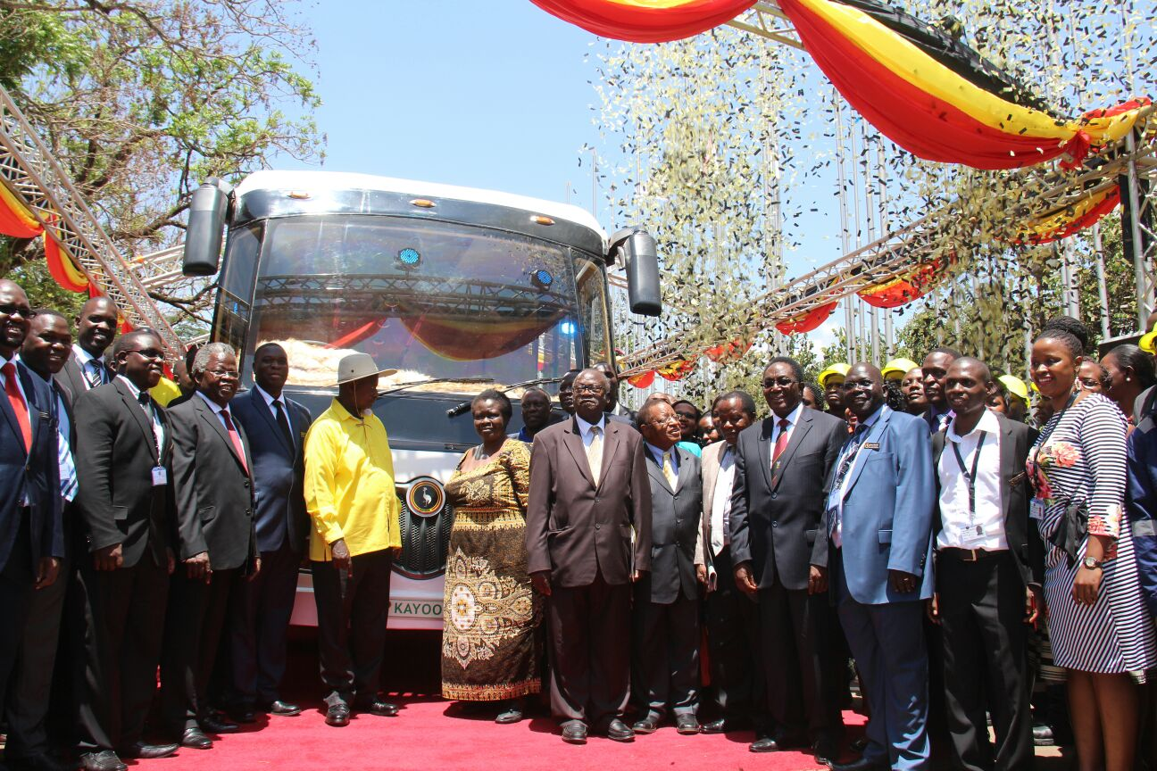 President Museveni and dignitaries pose for a photograph during the launch of Kayoola EV