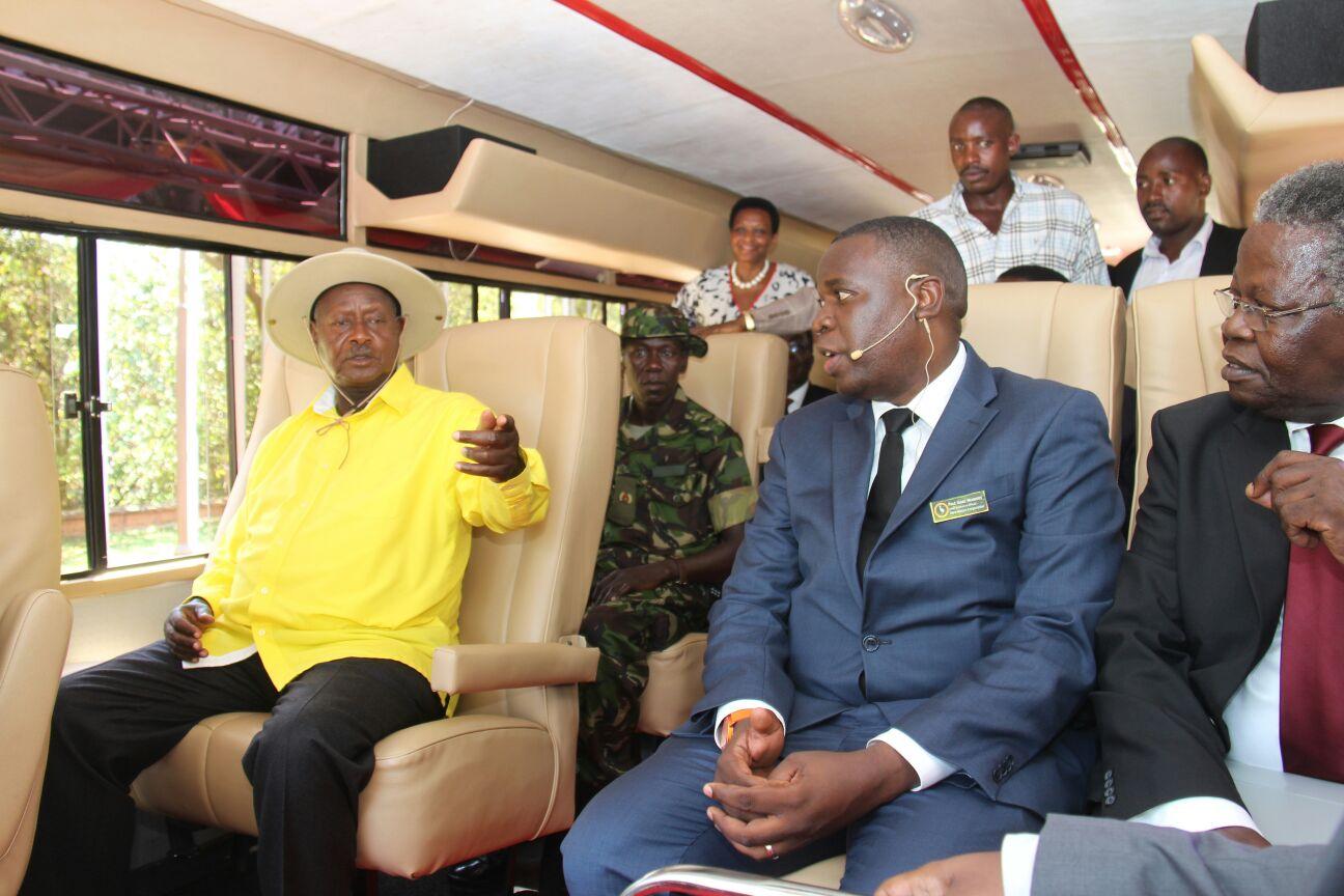 President-Museveni-expresses-his-satisfaction-to-Kiira-Motors-CEO-Paul-Isaac-Musasizi-and-Minister-Prof-Tickodri-Togoboa-after-the-maiden-ride-on-Kayoola-EV