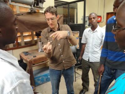 Stephen demonstrates biomass combustion