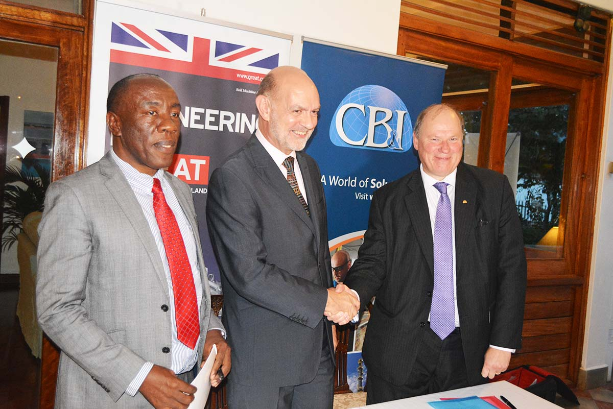 L-R: Prof. Henry Alinaitwe, British High Commissioner Peter West & CB&I MD Fluor