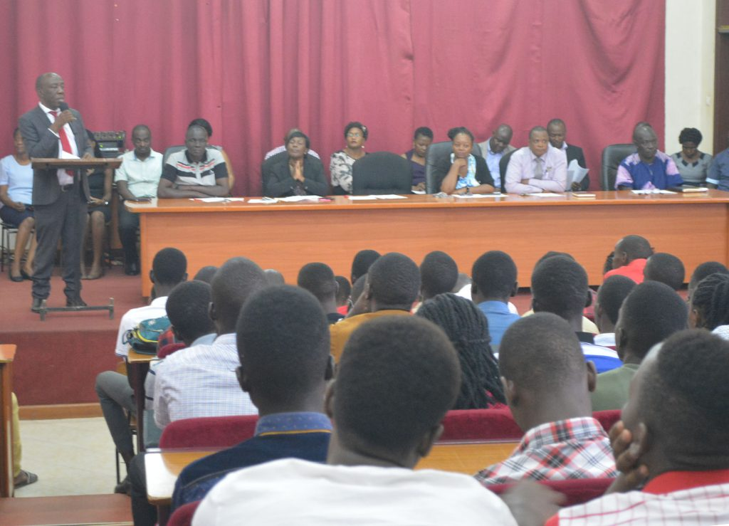 Prof. Alinaitwe addresses the freshers