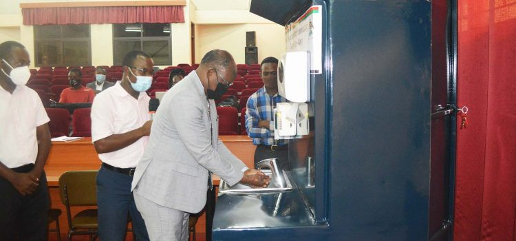 Vice Chancellor launches recyclable-water hand-washing machine in response to Covid-19