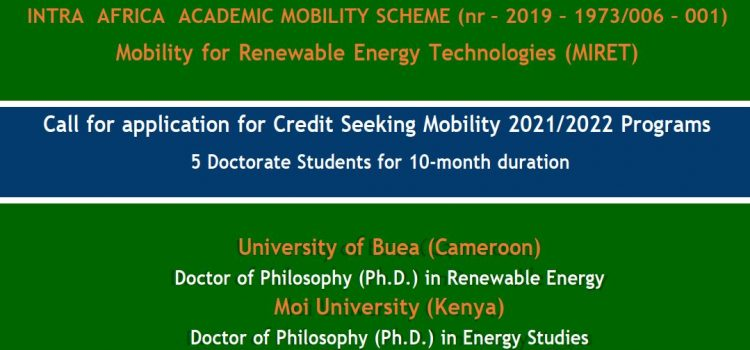 Intra Africa Academic Mobility Scheme: Call for application for Credit Seeking Mobility 2021/2022 Programs